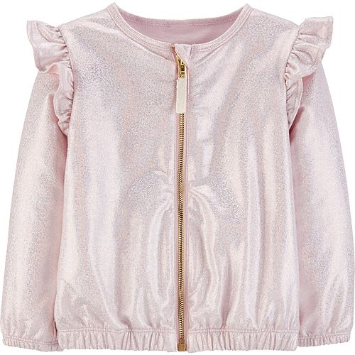 Toddler Girl Carter's Sparkly Zip-Up Bomber Jacket