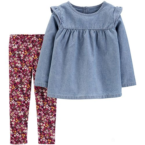 Baby Girl Carter's 2-Piece Chambray Top & Floral Legging Set