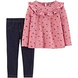 Baby Girl Carter's 2-Piece Butterfly Ruffle Top & Knit Legging Set