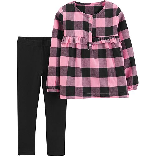 Toddler Girl Carter's 2-Piece Buffalo Check Top & Legging Set