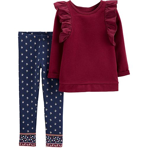 Toddler Girl Carter's 2-Piece Ruffle Top & Floral Legging Set