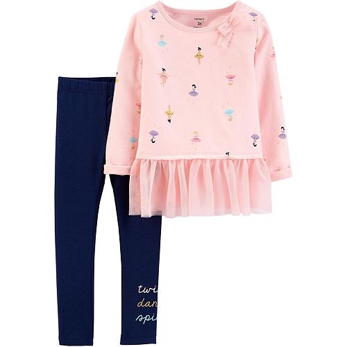Toddler Girl Carter's 2-Piece Dancer Peplum Top & Legging Set