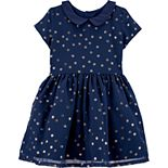Toddler Girl Carter's Glitter Dot Collared Dress