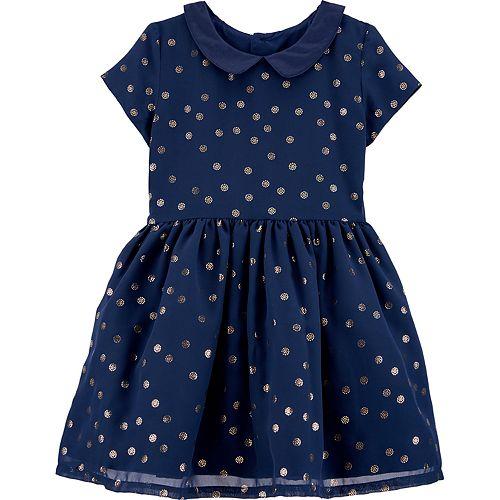 Toddler Girl Carter's Glitter Dot Collared Dress