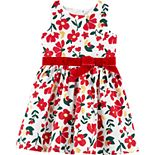 Toddler Girl Carter's Floral Sateen Holiday Dress