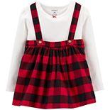 Toddler Girl Carter's Tee & Buffalo Check Jumper Set