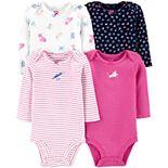 Baby Girl Carter's 4-Pack Long-Sleeve Bodysuits