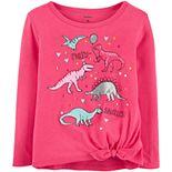 Toddler Girl Carter's Dinosaur Tie-Front Jersey Tee