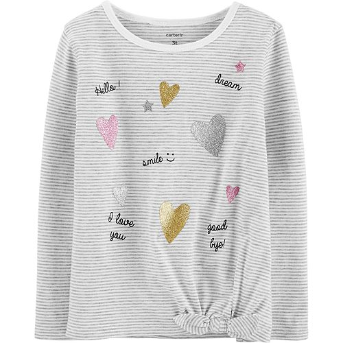 Toddler Girl Carter's Glitter Heart Tie-Front Jersey Tee