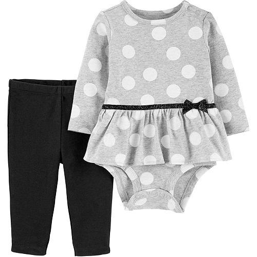 Baby Girl Carter's 2-Piece Polka Dot Peplum Bodysuit Pant Set