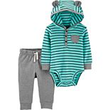 Baby Boy Carter's 2-Piece Striped Hooded Bodysuit Pant Set