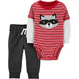 Baby Boy Carter's 2-Piece Raccoon Layered-Look Bodysuit Pant Set