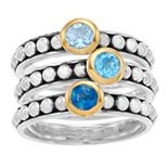 Rosabella 14K Gold Over Sterling Silver Genuine Blue Topaz Stacking Rings