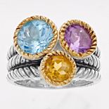 Rosabella Two Tone Sterling Silver Gemstone Ring