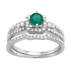 10k White Gold Emerald & 1 Carat T.W. Diamond Engagement Ring Set
