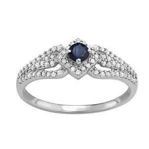 14k White Gold 1/3 Carat T.W. Diamond & Gemstone Square Halo Ring