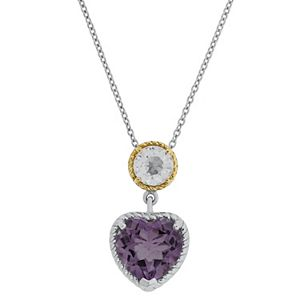 Two Tone Sterling Silver Amethyst & White Topaz Heart Pendant Necklace
