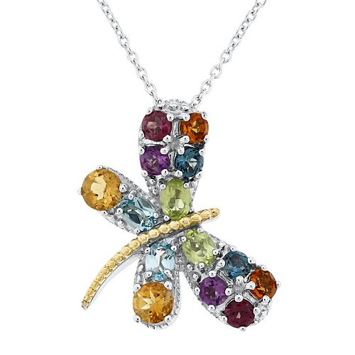 Two Tone Sterling Silver Multi-Gemstone Butterfly Pendant Necklace