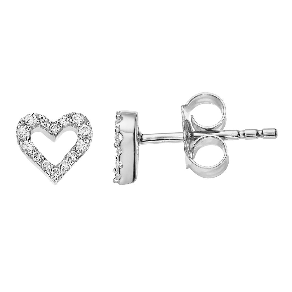 LC Lauren Conrad Sterling Silver Lab-Created White Sapphire Heart Stud Earrings