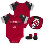 Baby Utah Utes 50 Yard Dash Bodysuit, Bib & Booties Set