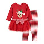 Toddler Girl Blueberi Boulevard Reindeer Set