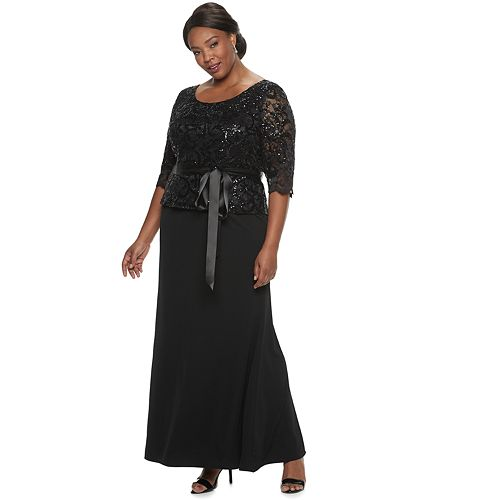 Plus Size Le Bos Stretch Long Lace Dress