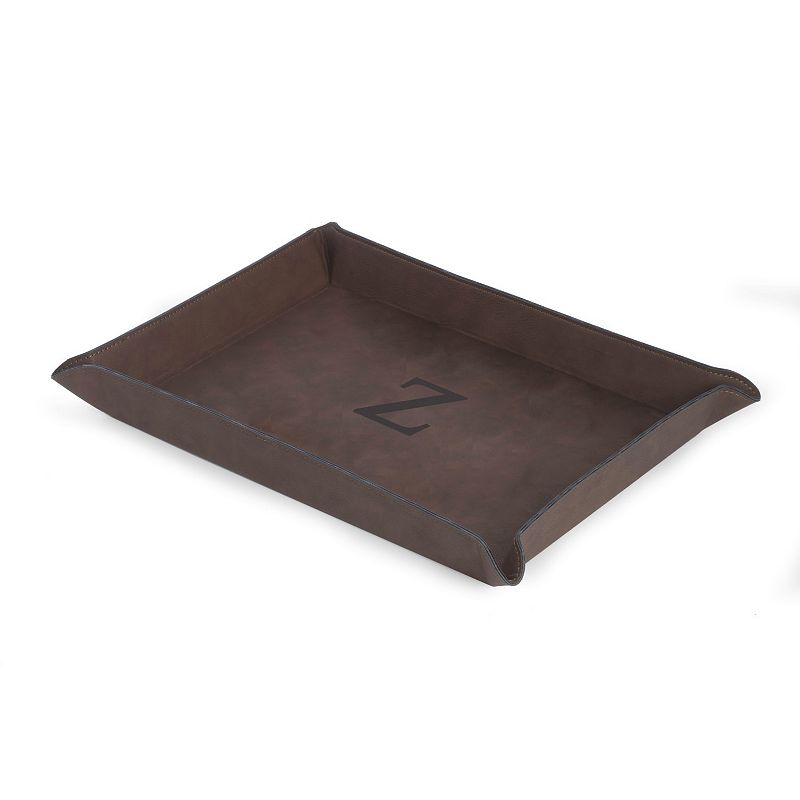 Initial Monogrammed Brown Valet Tray, Adult Unisex