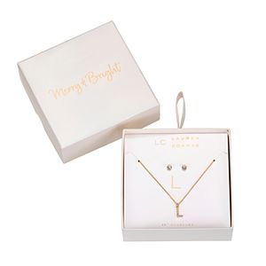 LC Lauren Conrad Monogram Necklace & Stud Nickel Free Earring Set