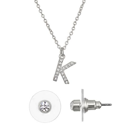 LC Lauren Conrad Monogram Necklace & Stud Nickel Free Earring Set