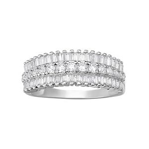 Buy For Less Clear Cubic Zirconia Tri Row Eternity Ring Sterling Silver