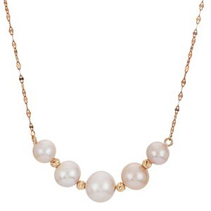 PearLustre by Imperial 14Kt Rose Gold Pink Cultured Pearl & Brilliance Bead Necklace