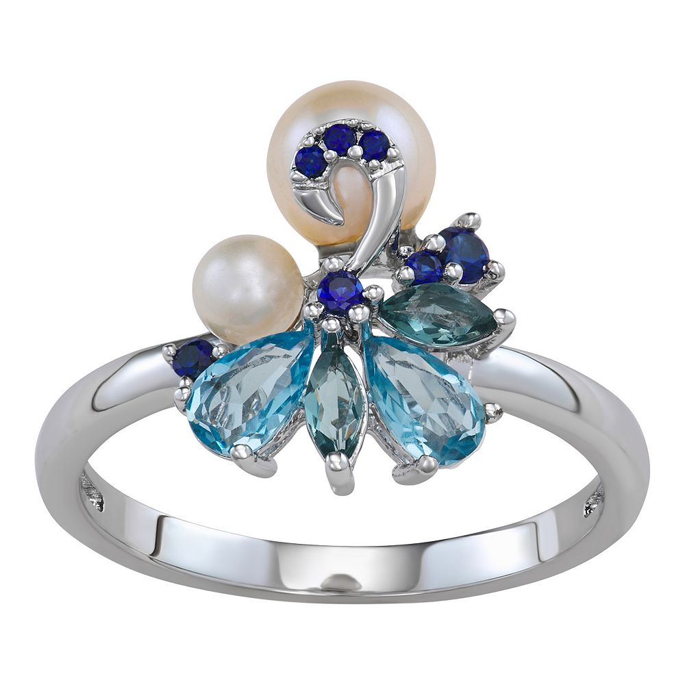 Sterling Silver Freshwater Cultured Pearl Blue Topaz & Lab-Created Sapphire Cluster Ring