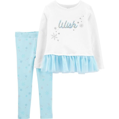 "Baby Girl Carter's ""Wish"" Peplum Top & Snowflake Legging Set"