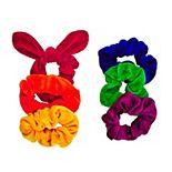 Juniors 6-Pack Rainbow Velvet Hair Scrunchies