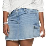 Juniors' Plus Size Mudd® Cargo Denim Skirt