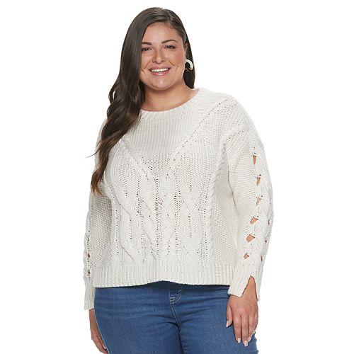 Plus Size Apt. 9® + Cara Santana Cable Knit Sweater by Plus Size Apt. 9