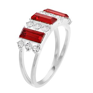 Brilliance Silver Plated Triple Baguette Ring with Swarovski Crystals