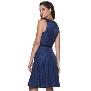 Women's ELLE? Pleat Neck Fit & Flare Dress