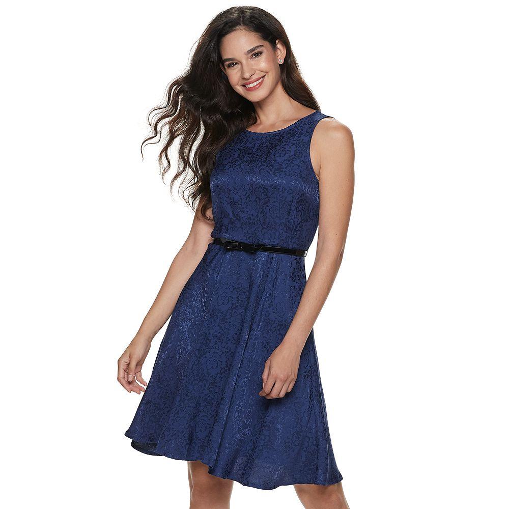 Women's ELLE™ Pleat Neck Fit & Flare Dress