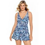 Women's Croft & Barrow® Print Twist-Front Swimdress