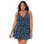 Plus Size Croft & Barrow® Print Twist-Neck One-Piece Swimdress