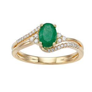 10k Gold Emerald & 1/8 Carat T.W. Diamond Ring