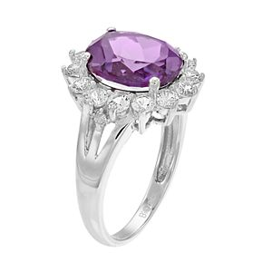 Sterling Silver Lab-Created Alexandrite & White Sapphire Halo Ring