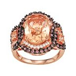 14k Rose Gold Plated Silver Simulated Morganite & Mocha Cubic Zirconia Ring