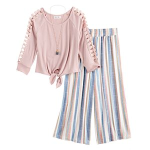 Girls 7-16 Knitworks 3/4 Sleeves Tie Front Top and Pants Set with Necklace