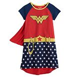 Girls 4-12 Wonder Woman Dorm Gown with Cape