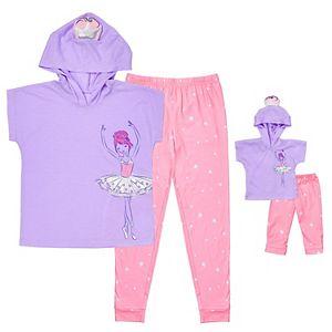 Girls 4-10 Cuddl Duds Unicorn 2-Piece Pajama Set with Matching 2-Piece Doll Pajamas