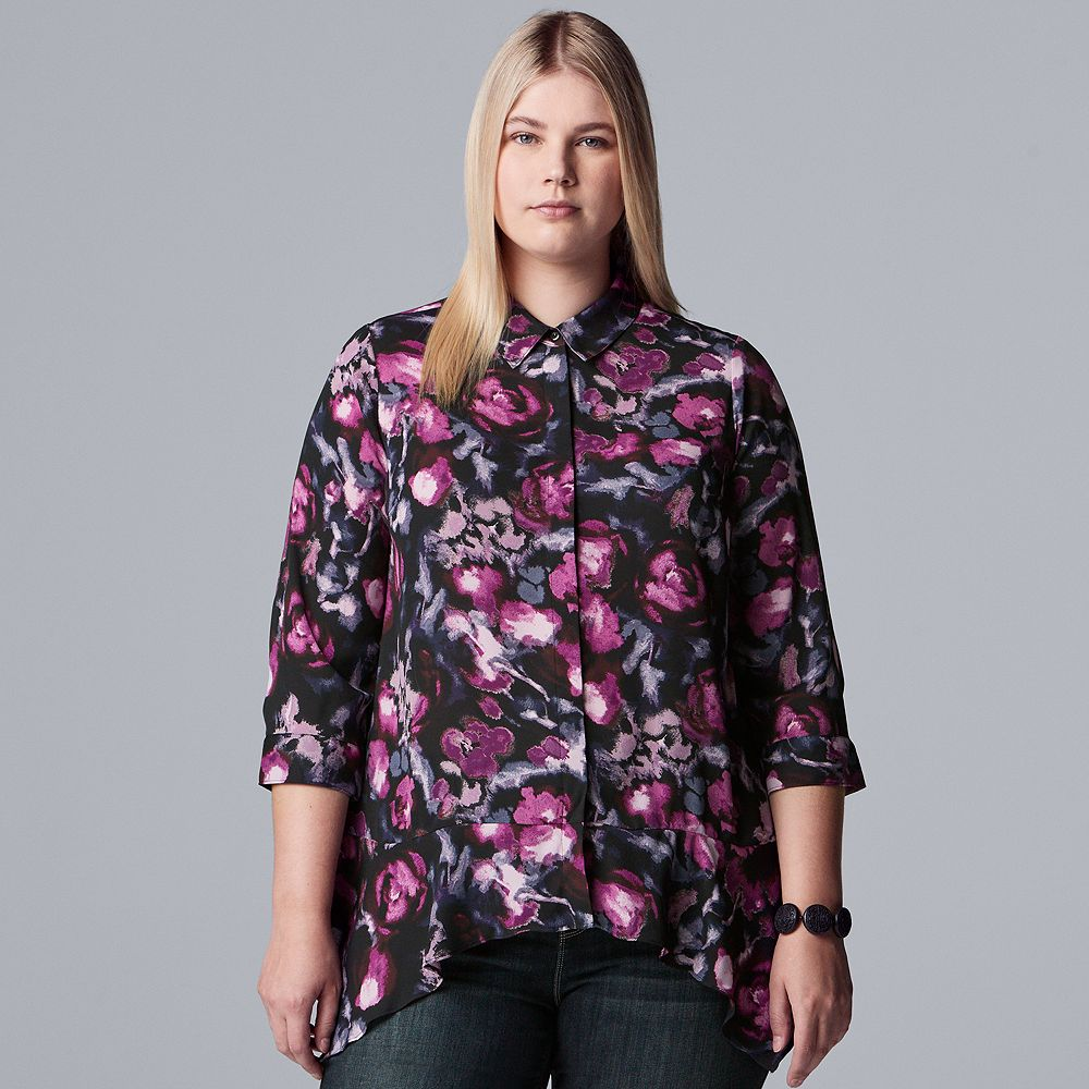Plus Size Simply Vera Vera Wang Pointed Hem Shirt