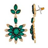 Napier Green Simulated Crystal Floral Drop Earrings