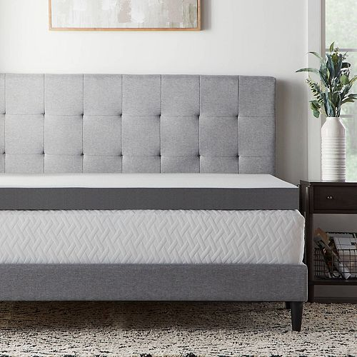 Lucid Dream Collection 4 In Charcoal Memory Foam Mattress Topper